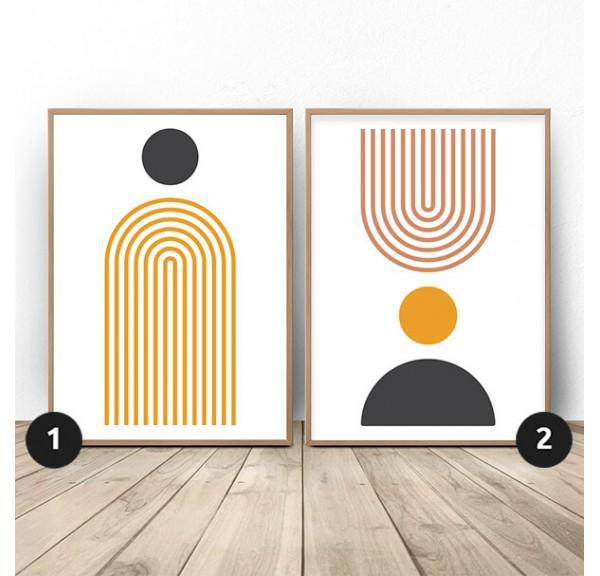 Zestaw dwóch plakatów abstrakcyjnych w stylu boho