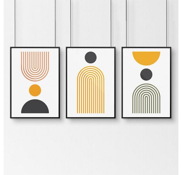 Zestaw 3 plakatów geometrycznych boho