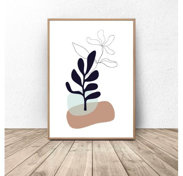 Plakat botaniczny Roślina w kolorach ziemi