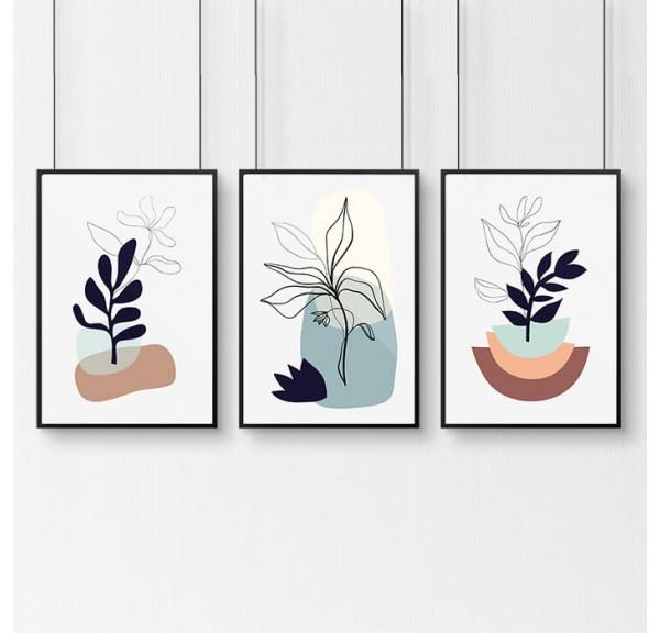 Zestaw 3 plakatów ze szkicem roślin