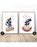 Zestaw dwóch plakatów ze szkicem liści