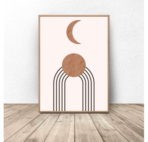 Plakat abstrakcyjny w stylu boho Księżyc