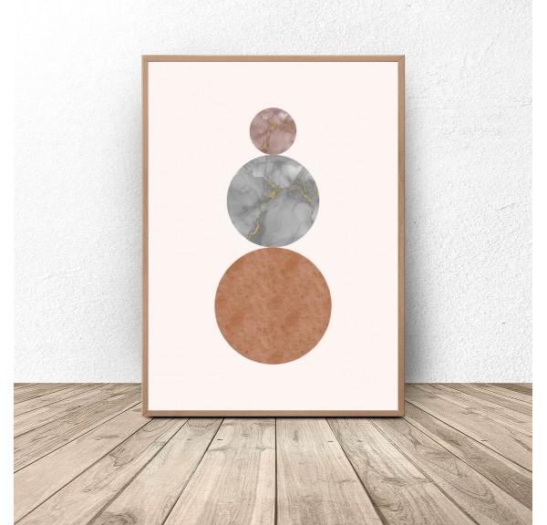 Plakat abstrakcyjny w stylu boho Trzy kule
