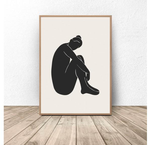 Plakat minimalistyczny Kobieta siedząca bokiem