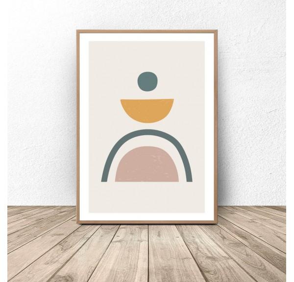 Plakat abstrakcyjny w stylu boho Zielona tęcza