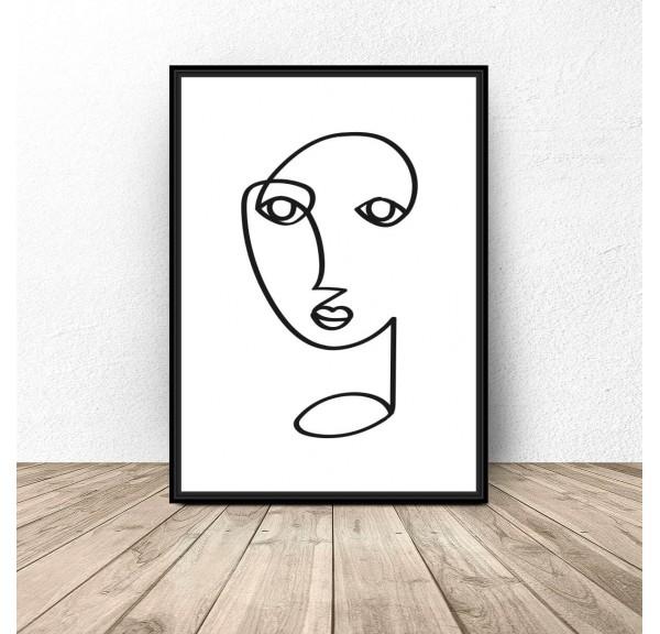Plakat jedna linia Twarz jak Picasso