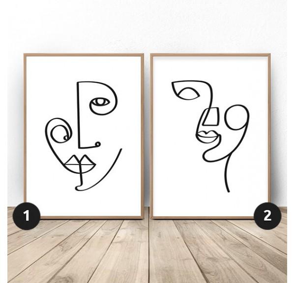 Zestaw dwóch plakatów z twarzami w stylu Picasso