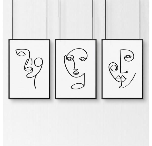 Zestaw 3 plakatów z twarzami w stylu Pabla Picasso
