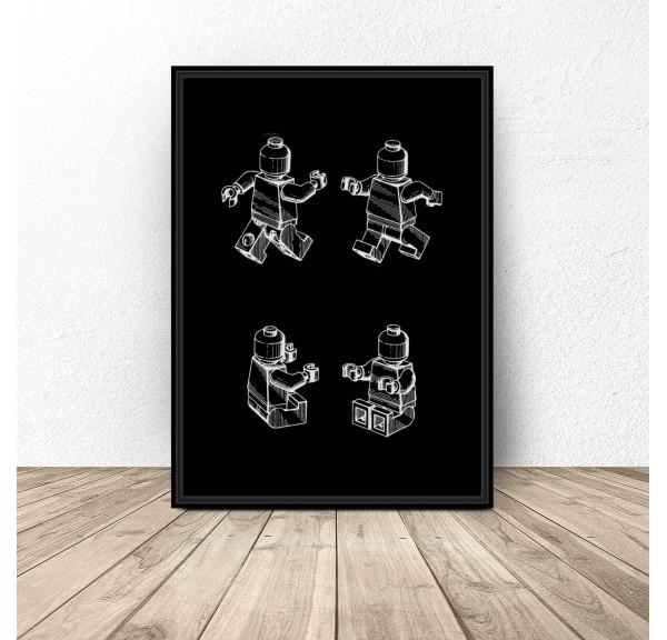 Czarny plakat Ludzik Lego