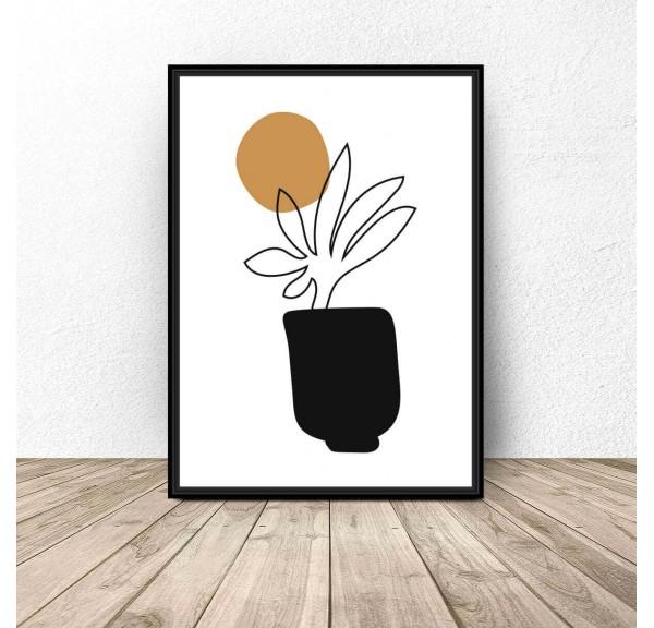 Plakat abstrakcyjny Roślina w donicy