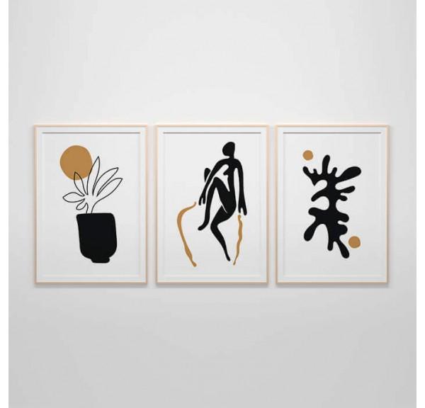 Zestaw 3 plakatów w stylu Matisse