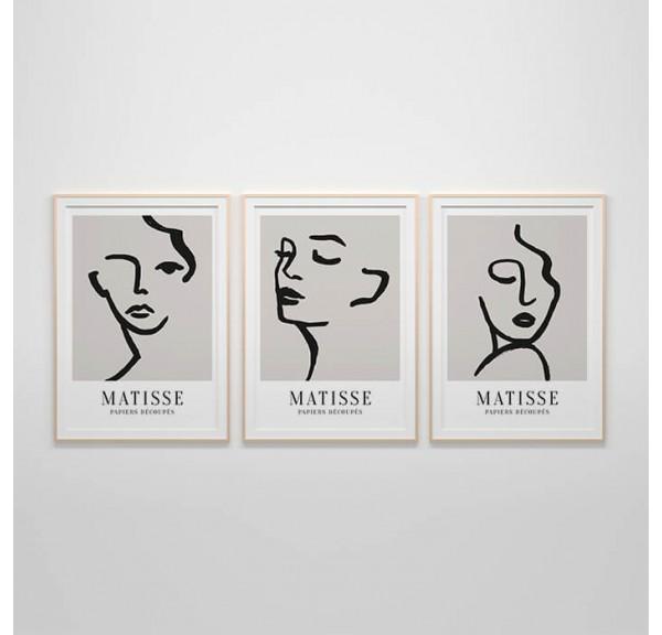 Zestaw trzech plakatów Twarze Matisse