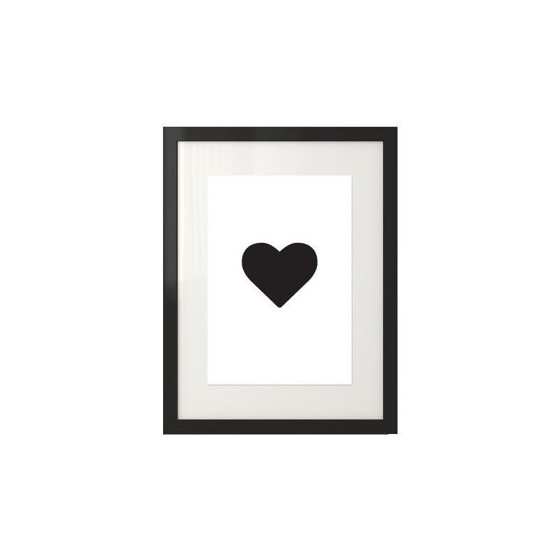 Plakat na ścianę z sercem w centralnym miejscu plakatu na tle bialym