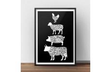 Plakat kuchenny ze zwierzętami i częściami mięsa w kolorze czarnym