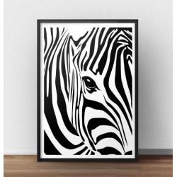 Plakat ze zbliżeniem na oko zebry oprawiony w prostą ramkę
