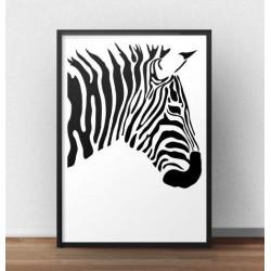 Plakat przedstawiający prawy profil zebry