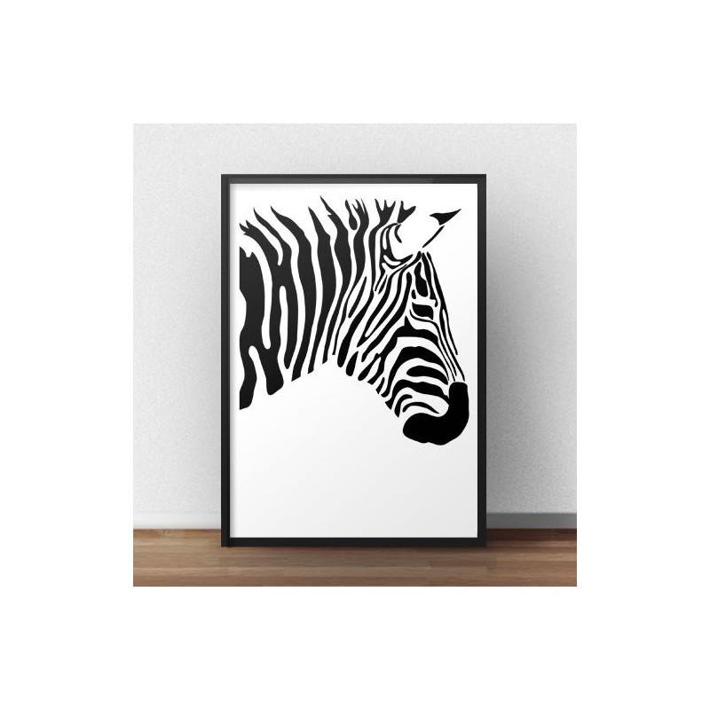 Plakat z zebrą Prawy profil zebry