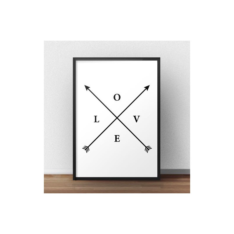 Plakat z napisem LOVE i strzałkami