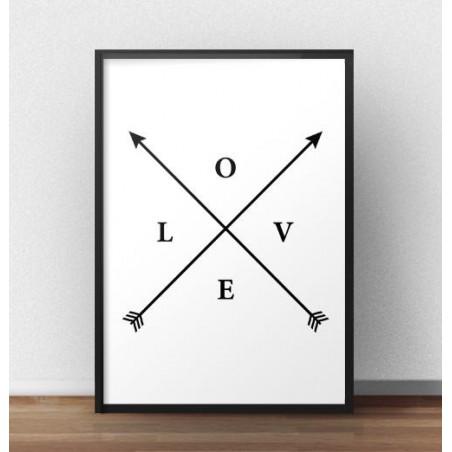 "Plakat z napisem ""LOVE"" i strzałkami"