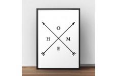 """Plakat z napisem """"HOME"""" i strzałkami w stylu boho"""
