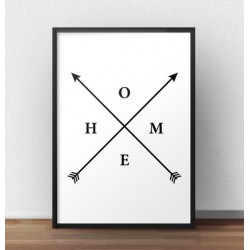 "Plakat z napisem ""HOME"" i strzałkami"