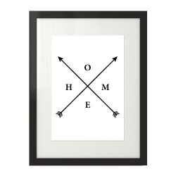 Plakat ze skrzyżowanymi strzałami i napisem HOME pomiędzy nimi