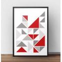 Skandynawski plakat z trójkątami z kolorem czerwonym