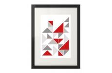 Plakat z trójkątami z akcentem czerwonym