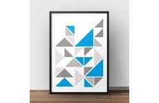 Plakat ze skandynawska kompozycją trójkątów z akcentem koloru niebieskiego