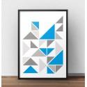 Plakat ze skandynawska kompozycją trójkątów z akcentem koloru niebieskiego 2
