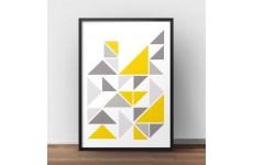 Skandynawska kompozycja trójkątów z akcentem koloru żółtego