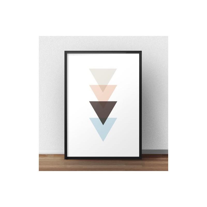 Plakat z nachodzącymi się na siebie trójkątami w stylu skandynawskim