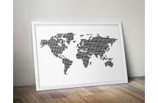 Plakat z mapą świata utworzoną z kropek to doskonała dekoracja sypialni i salonu