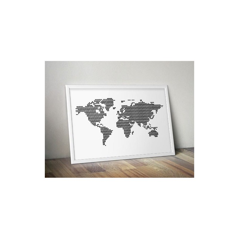 Poster World map with dots