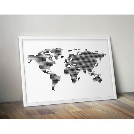 "Plakat ""Mapa świata z kropek"""