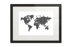 Skandynawski plakat z mapą świata z kropek