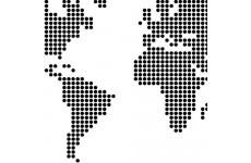 Zbliżenie na fragment plakatu z mapą świata utworzoną z kropek