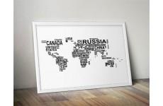 Plakat z nazwami państw tworzącymi mapę świata
