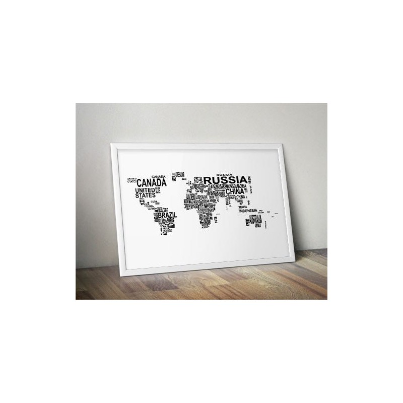 Poster World map of the names of countries