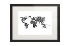 Czarno-biały plakat typograficzny z mapą świata