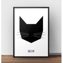 Skandynawski plakat z głową czarnego kota oprawiony w ramę