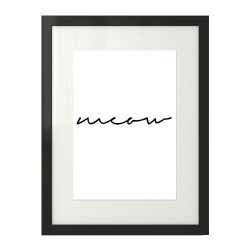 """Typograficzny plakat z czarnym napisem """"Meow"""""""