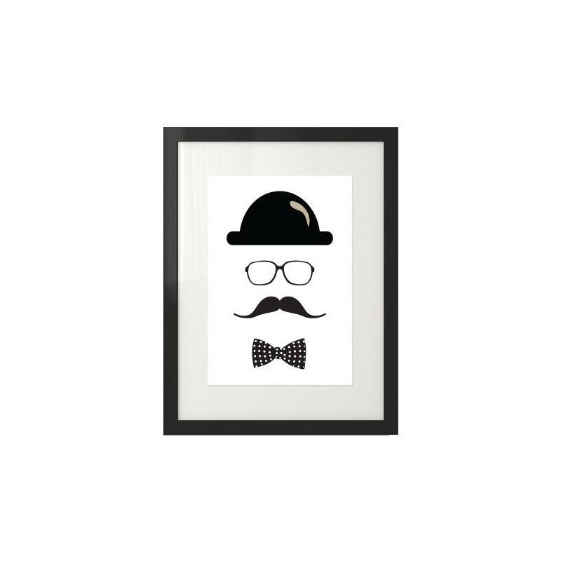 Plakat przedstawiający hipstera z wąsami, w okularach, kapeluszu i muszce.