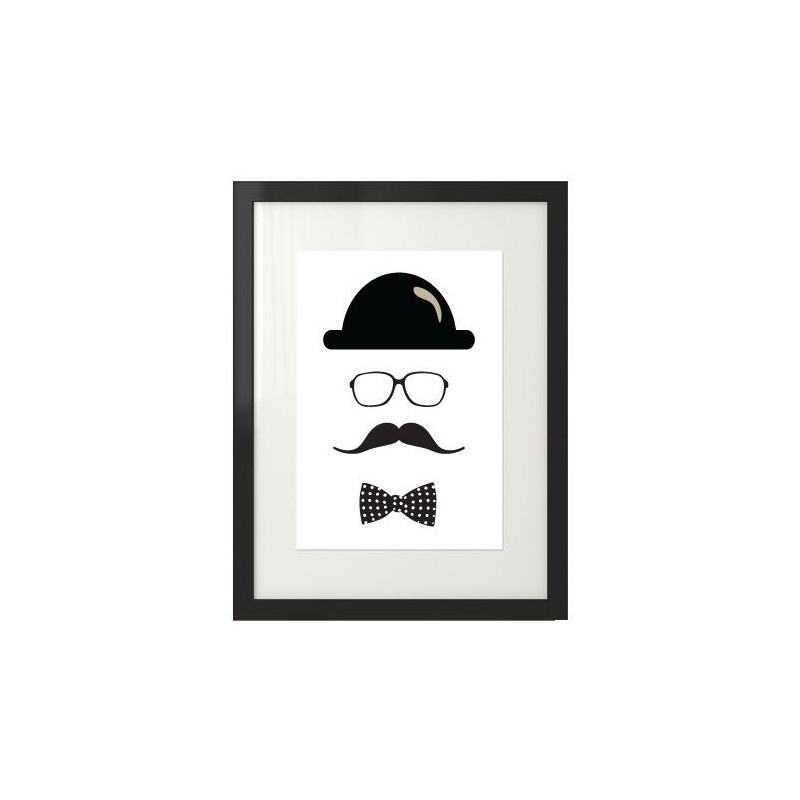 Poster with hipster and mustache Hipster No1
