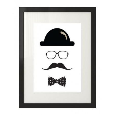 """Plakat z hipsterem i wąsami """"Hipster No1"""""""