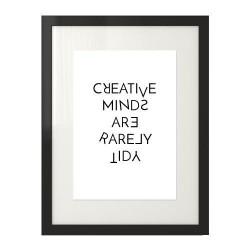 "Typograficzny plakat z napisem ""Creative minds are rarely tidy"""