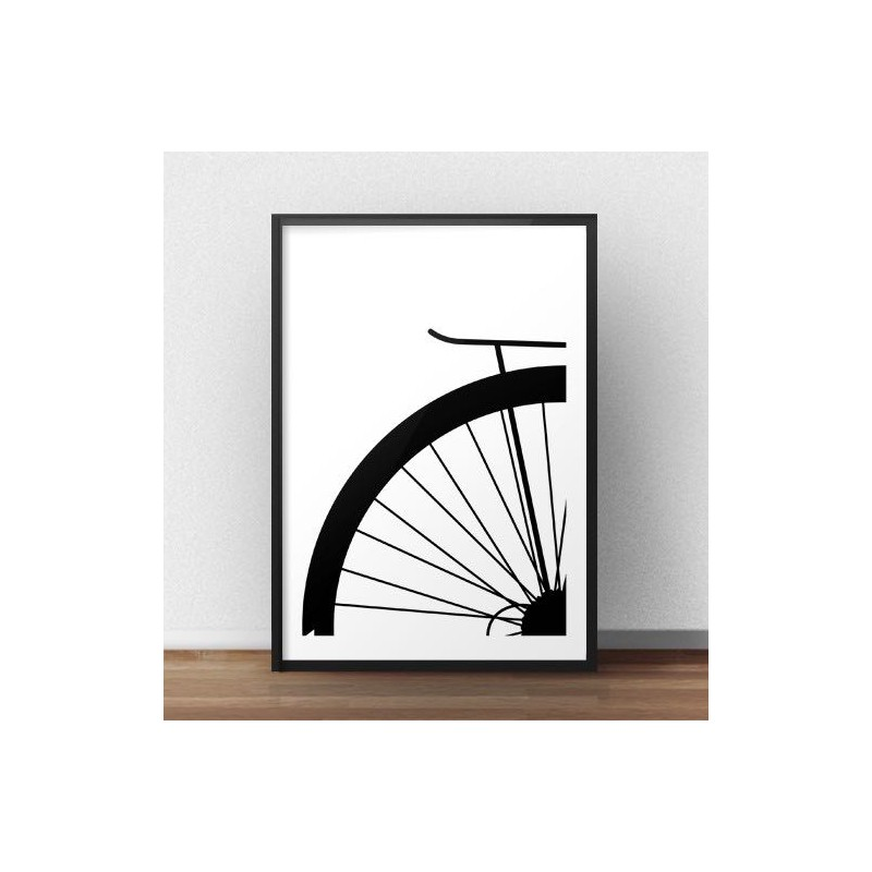 Poster with a fragment of a city bike wheel