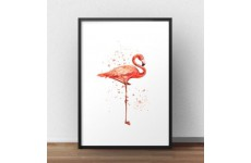 Plakat z kolorowym różowym flamingiem