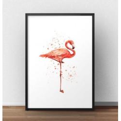 Plakat z kolorowym flamingiem