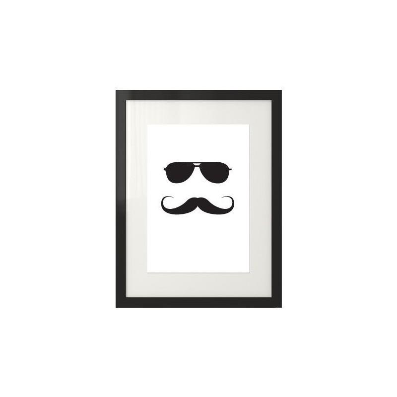 Plakat z hipsterem w okularach przeciwsłonecznych i wąsach